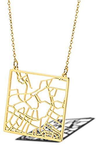 NC110 Damen Halskette Amsterdam Stadtplan 18 Karat vergoldet Schlüsselbein Halskette Titan Stahl Kleidung Zubehör-Gold