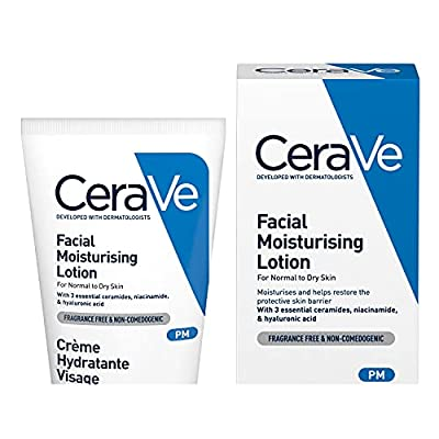 CeraVe PM Facial Moisturising Lotion, 52 ml / 1.75 oz, Daily Facial Moisturiser with Niacinamide for Normal to Dry Skin from Cerave