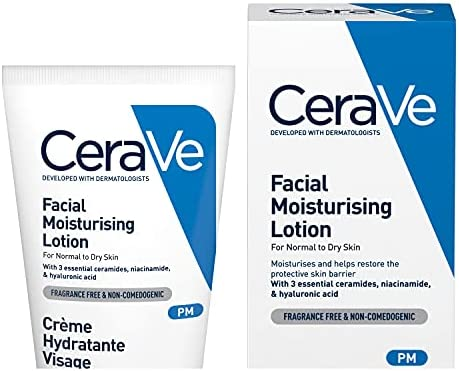 CeraVe PM Facial Moisturising Lotion, 52 ml / 1.75 oz, Daily Facial Moisturiser with Niacinamide for Normal to Dry Skin