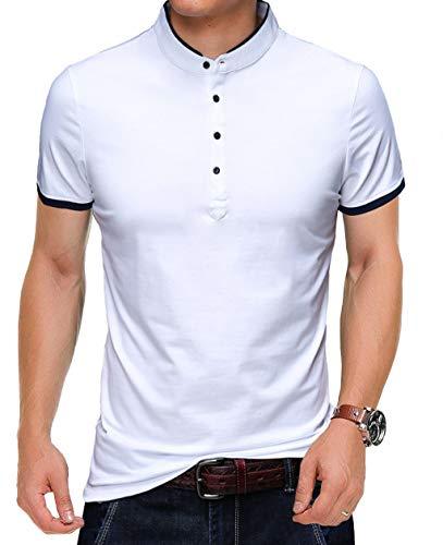 YTD Camisetas masculinas casuais de verão slim fit cor pura manga curta polo, 04 White, Large