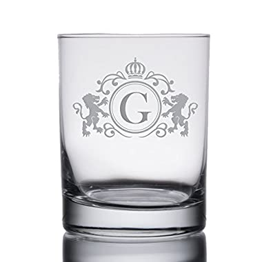 Monogrammed Initial Heavy Base 13.5 oz Double Rocks/Old Fashioned Glass (Letter: G)