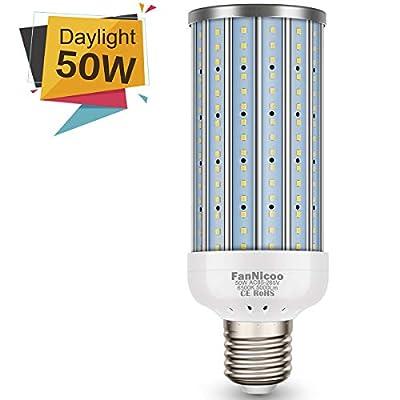 LED Corn Light Bulb 50W(350W Equivalent 5000Lumen 6500k) Large Area Cool Daylight White Corn Bulb(AC85V-265V) for Indoor Garage Warehouse Factory Workshop Backyard New Upgraded