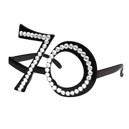 Inzopo 21/70/80 gafas de cumpleaños – Marco de cristal de número, recuerdos de fiesta, boda, gafas de sol divertidas, gafas de sol, novedad decoración de celebración para adultos 70 15 x 5,5 cm