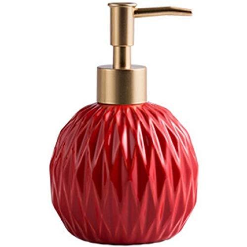 FülleMore 400ml Nachfüllbar Seifenspender Pumpseifenspender aus Keramik Badezimmer Hotel Handseifenspender Duschgel Shampoo Spender Küche Spülmittelspender (Rot)