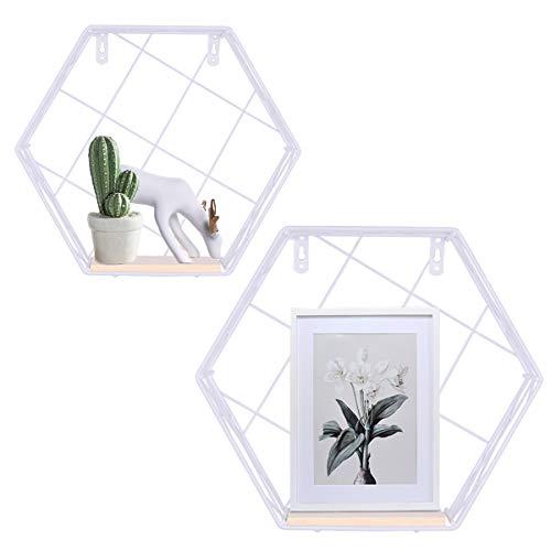 Estantes flotantes, estantes decorativos montados en la pared, alambre de metal hexagonal y madera Pantalla multiuso y estante de almacenamiento para la decoración del hogar (Blanco, Rejilla)