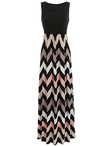 Sherosa Women Boho Chevron Striped Print Summer Sleeveless Tank Long Maxi Party Dress (XXL, Black)