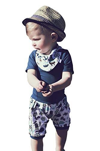 "Lilakind"" 3-teiliges Baby Set Hose Pumphose Babyhose Shirt Kurzarm Halstuch Maritim Piraten Blau Gr. 74/80 - Made in Germany"