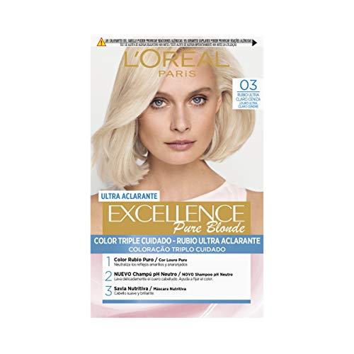 L'Oréal Paris Excellence Coloración Crème Triple Protección, Tono 03 Rubio Ultra Claro ceniza -50 ml
