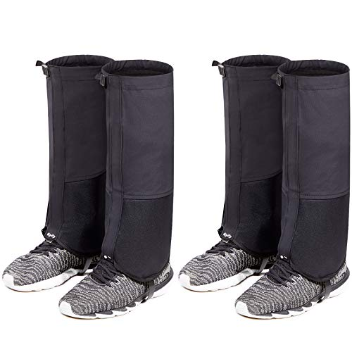 2 Pairs of Snow Boot Gaiters Anti-Tear Leg Gaiters Waterproof High Leg Gaiters Legging Covers for Men Women Outdoor Snowshoeing, Hiking, Hunting, Ice Climbing, Skiing (Extra Large)