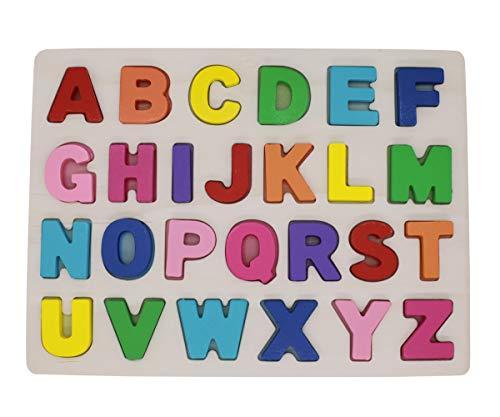 KanCai Holz Alphabet Puzzle Board ABC Buchstaben Lernspielzeug für Kleinkinder und Kinder Zum Alphabet Lernen