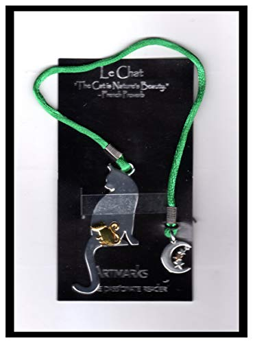 Le Chat Bookmark (Gold & Silver-Tone Cat & Mouse with Crescent Moon & Stars), by Cynthia Gale (Artmarks for the Passionate Reader).