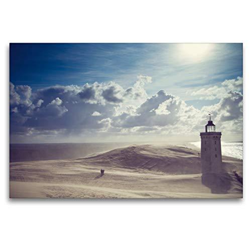 CALVENDO Premium Textil-Leinwand 120 x 80 cm Quer-Format Sandsturm am Leuchtturm, Leinwanddruck von Elisabeth Cölfen