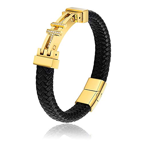 Bishilin Gold Armbänder Männer Zirkonia Buchstabe T Lederarmband mit Magnetverschluss Edelstahl Armband Charms Freundschaftsarmband 20CM
