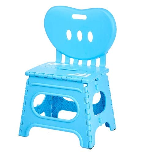 Tragbarer Klappbarer Faltbar Klapphocker Klappstuhl Hocker Stuhl mit Rückenlehne Garten Klappstuhl Klein Kinderfußbank Kindertritt Aufstiegshilfe Waschbecken (Blau)