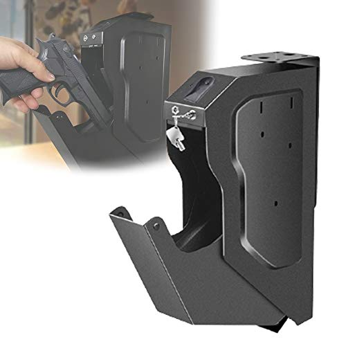 HNWTKJ Caja Fuerte para Armas, Gabinete de Escritorio, Cajas Fuertes para Armas, Biométrica de Huellas Dactilares y Llave de Repuesto, Caja Fuerte para Pistola