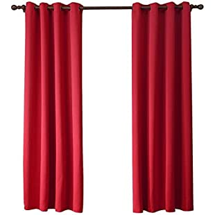 """Eazyhurry Solid Color Polyester Thermal Insulated Redout Curtains with Grommet Window Treatment for Bedroom Living Room Red 52"""" X 63""""(2 Panels):Netac2"""