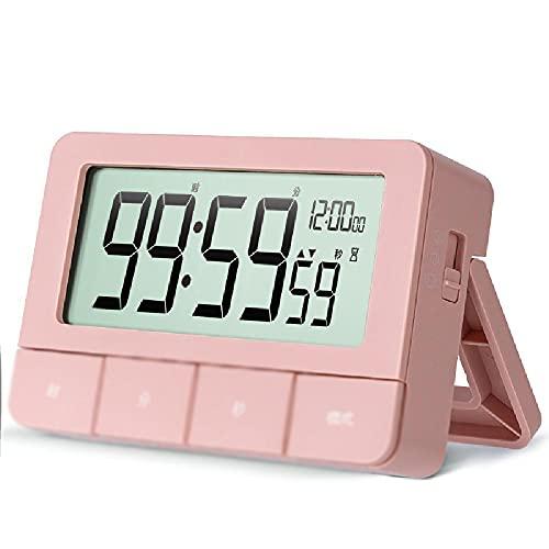 YQZX Reloj Despertador, Reloj de Tiempo electrónico, Reloj de mesita de Noche Ajustable con Soporte, Temporizador de Cocina, para Dormitorio,Pink