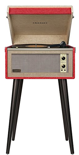 professional Crosley CR6233D-RE Dansette Bermuda Portable, Auxiliary Input and Bluetooth, Red