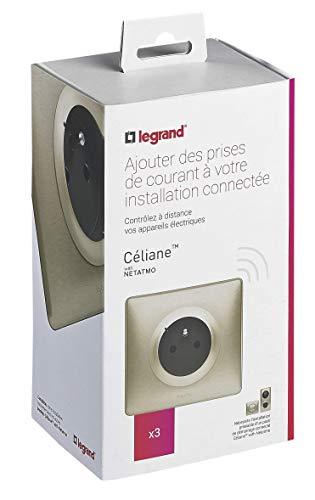 Lot de 3 Prises de courant connectées Céliane with Netatmo avec Plaque Métal Titane