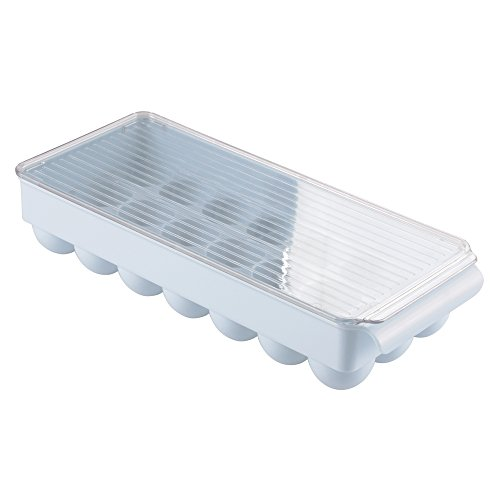 iDesign Fridge/Freeze Binz Egg Holder for 21 Eggs, Fridge Storage Unit, Stackable Tray with Handle, Made of Plastic, Light Blue, Large