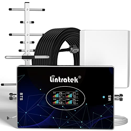 Lintratek Amplificatore di segnale per telefono cellulare 4 quattro banda B20 800 900 1800 2100 ripetitore 2G 3G 4G 70dB Ripetitore di segnale per cellulari