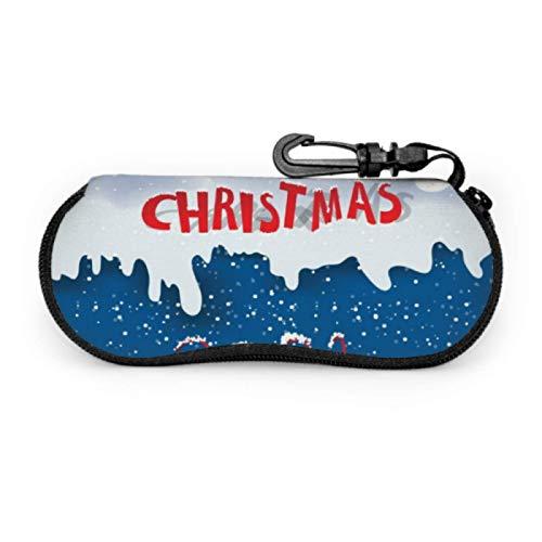 DAIDYA Brillenetui, Happy New Year 2021 Vorlage Sonnenbrille Weichetui Ultraleichtes Neopren-Reißverschluss-Brillenetui mit Karabinerhaken, Brillenetui für Herren