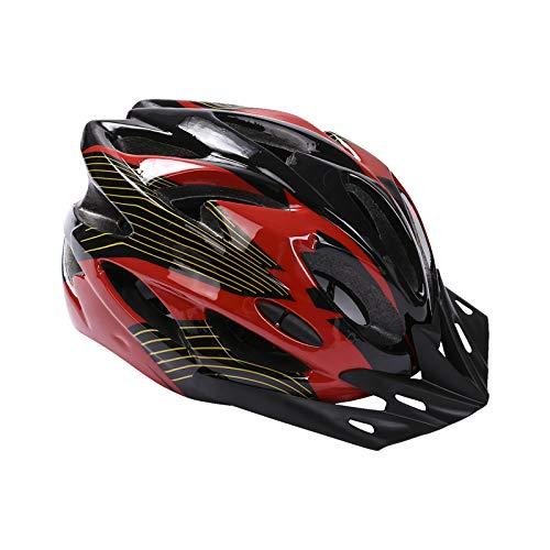 Casco de Bicicleta, Casco de Bicicleta de Montaña Casco de Bicicleta para Adultos Ajustable con Visera Extraíble para Bicicleta MTB City Specialized Casco de Bicicleta para Hombres y Mujeres Rojo