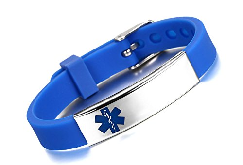 JF.JEWELRY Custom Engraved Medical ID Alert Bracelet for Kids Silicone Band & Stainless Steel Tag-Blue