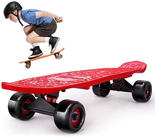 ZXL Tragbares 24-Zoll-Cruiser-Skateboard, Penny Style Board Dream, komplettes Anfänger-Skating-Board, klassisches Skateboard für Kinder/Kinder/Erwachsene,Rot