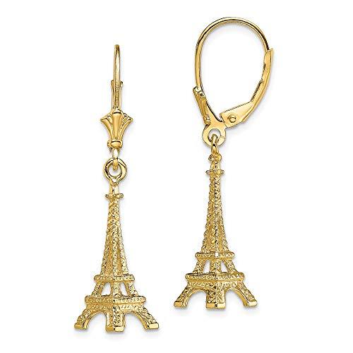 14k Yellow Gold 3-D EIFFEL TOWER [PARIS] / LEVERBACK EARRINGS for Women