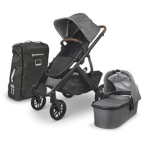 UPPAbaby Vista V2 Stroller - Greyson (Charcoal Melange/Carbon/Saddle Leather) + Travel Bag for Vista, V2, Cruz, V2