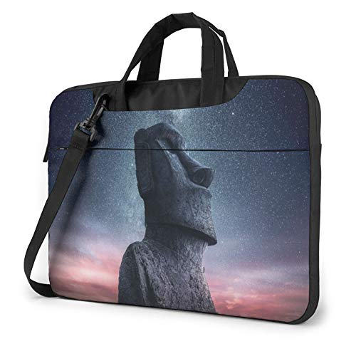 Laptop Sleeve Bag Moai Statue Easter Island Sunset Starry Sky Tablet Briefcase Ultraportable Protective Canvas for 13 inch MacBook Pro/MacBook Air/Notebook Computer