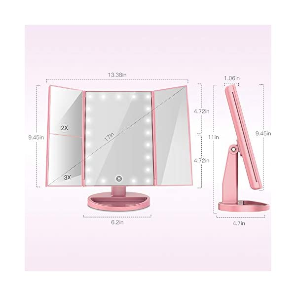Beauty Shopping BESTOPE Makeup Vanity Mirror with Lights, 2X/3X Magnification,