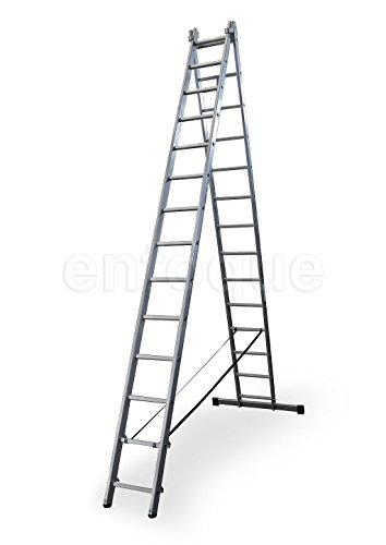 Escalera profesional de aluminio transformable apoyo-tijera con base un acceso 2 x 14 peldaños serie bis
