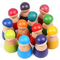 Lewo 12 Pezzi Giocattoli per Bambini in Legno per Ragazzi Ragazze Arcobaleno Bambole Legno Fingere di Giocare Figure di Persone per i più Piccoli Giocattoli Educativi di Apprendimento Prescolare #2