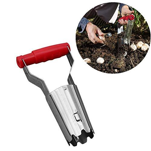 Blumenzwiebel-Gartenwerkzeug Edelstahl zum Einpflanzen von Blumenzwiebeln, mit einem Federgriff für Pflanzen und Blumen