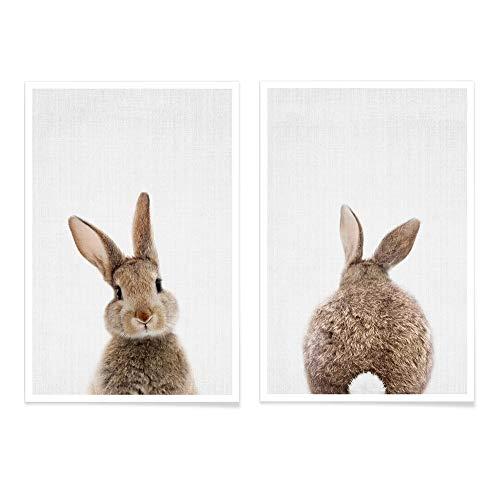 JUNIQE® Poster-Set - Tierpaare - Poster & Prints für stilvolle Wände - 2X 20x30