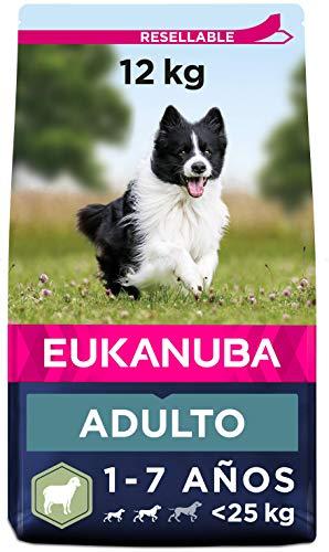 Eukanuba Alimento seco para perros adultos de razas pequeñas y medianas, rico en cordero y arroz, 12 kg ✅