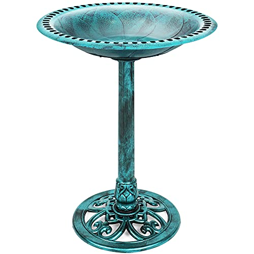 Best Choice Products Outdoor Rustic Pedestal Bird Bath