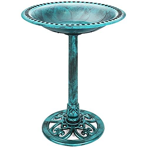 Best Choice Products Vintage Outdoor Resin Pedestal Bird Bath Accent Decoration w/Fleur-de-Lis Accents