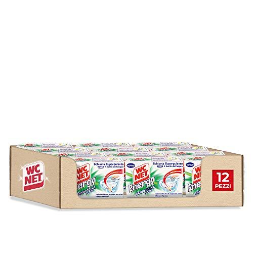 Wc Net Energy con Candeggina, Detergente Igienizzante in Polvere per WC, Schiuma Autopulente con Azione Sbiancante, 4 Buste x 12 Confezioni