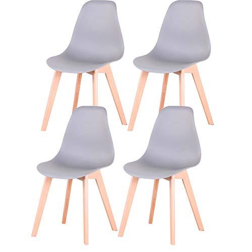 Uderkiny Conjunto de 4 sillas sillas de Comedor sillas de Estilo nórdico para Cocina Comedor Sala de Estar y Oficina (Gris)