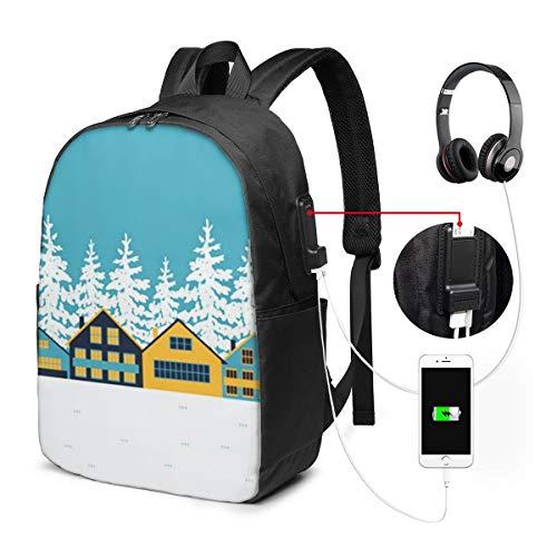 Laptop Rucksack Business Rucksack Für 17 Zoll Laptop, Chalets Cottages Häuser Schulrucksack Mit USB Port für Arbeit Wandern Reisen Camping, für Herren Damen