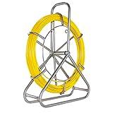 MATHOWAL Cable de Fibra de Vidrio Electraline, 6 mm x 130 m fibra de vidrio continua, extractor de cables de cinta de pescado para cables eléctricos, enhebrador de cables (amarillo sin freno de mano)