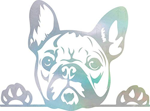 NBFU DECALS Funny French Bulldog Peeking Paws Cute Tongue (Hologram) (Set of 2) Premium Waterproof Vinyl Decal Stickers for Laptop Phone Accessory Helmet Car Window Bumper Mug Tuber Cup Door Wall