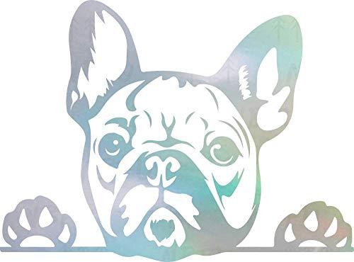 NBFU DECALS Funny French Bulldog Peeking Paws Cute Tongue (Hologram) (Set of 2) Premium Waterproof Vinyl Decal Stickers Laptop Phone Accessory Helmet Car Window Bumper Mug Tuber Cup Door Wall