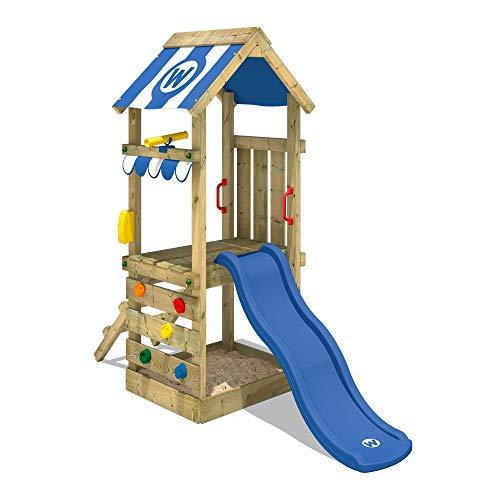 WICKEY Parque infantil de madera FunkyFlyer con tobogán azul Torre de escalada de exterior con...