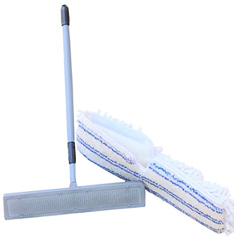Quality Line Universal Carpet Rake plus Free Microfiber Mop Pad/Effective & Safe/User-Friendly/ Rug & Carpet Cleaner/Ergonomic & Unique Design/Features a 4 Ft Extendable Pole/Custom Fit/Wet Dry Floor Cleaning Pad/Premium Quality/Reusable