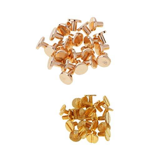 Trimming Shop Lot de 20 rivets à vis Chicago à tête plate dorée - En laiton résistant - Pour maroquinerie, arts, reliure, artisanat, décoration - 9 x 6 mm
