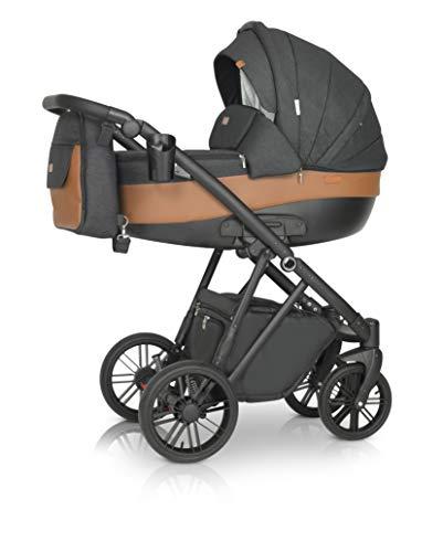 Krausman Kinderwagen 3 in 1 LEXXO Black Caramel Kombikinderwagen Babyschale Babywanne Sportwagen Design Made In Germany